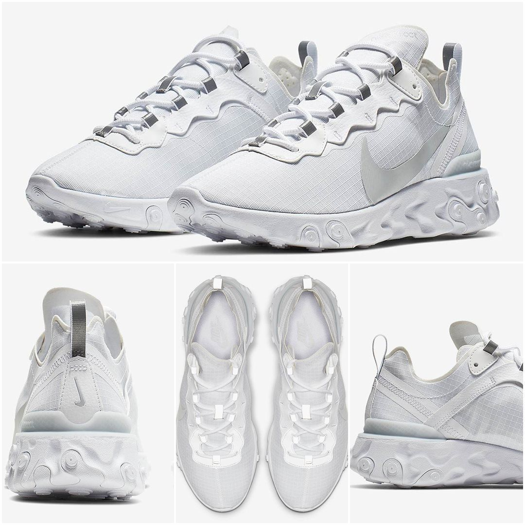 Nike React Element 55 Triple White