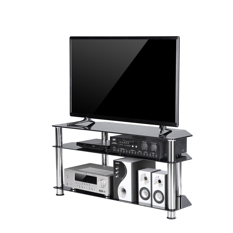 Meuble Tv Grande Taille tavr meuble tv d'angle en verre trempé noir support de