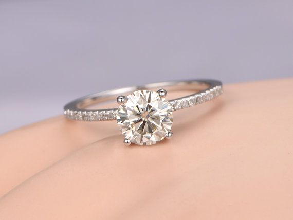 e273d48247fba Round Cut 7mm Natural Moissanite engagement by PENNIjewel on Etsy ...
