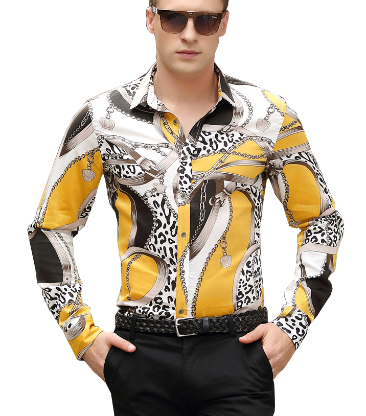 gold animal floral pattern chains cool dress shirt http