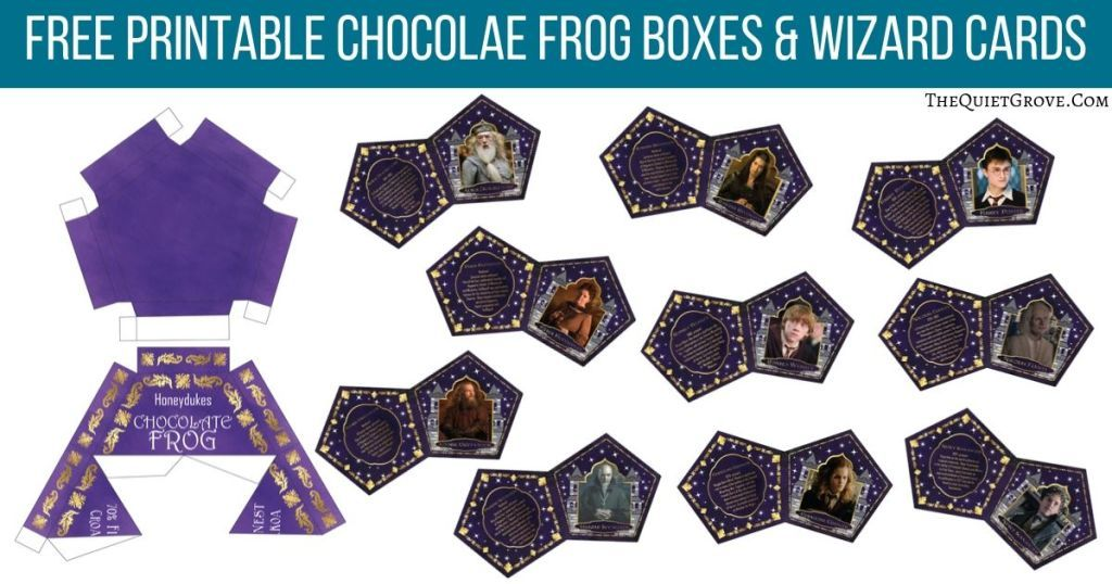 Chocolate Frog Boxes Wizard Cards Recipe Chocolate Frog Cards Card Template