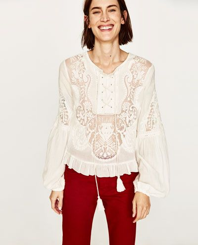 Image 2 of EMBROIDERED LACE BLOUSE from Zara | What to ...