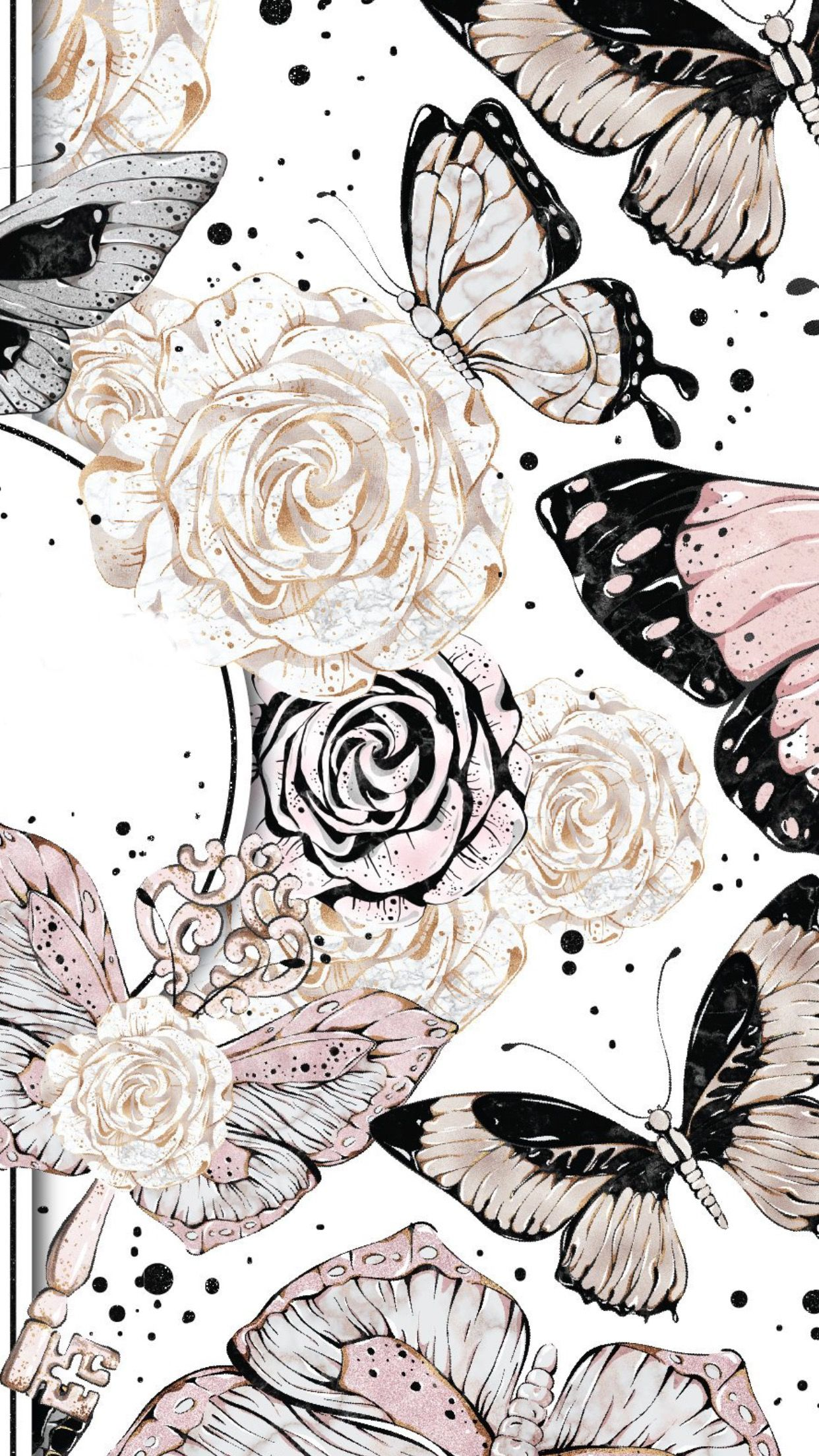 Abstract Flower Butterfly Wallpaper Cute Wallpapers
