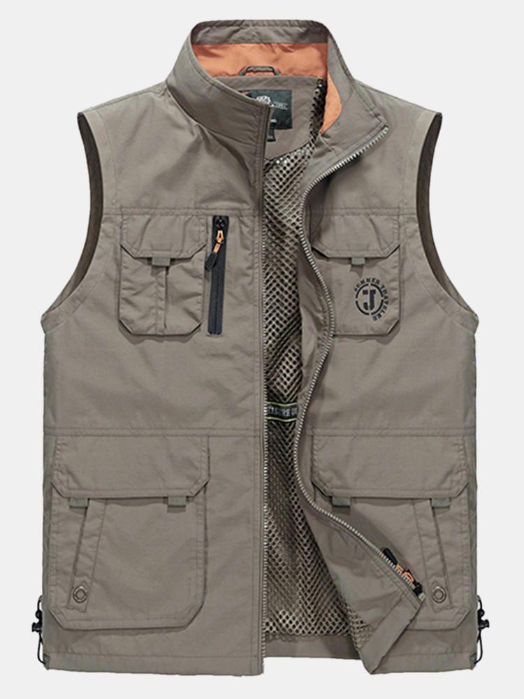 Flygo Mens Casual Lightweight Outdoor Travel Fishing Vest Jacket Multi Pockets