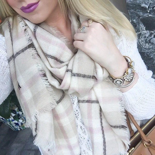 blanket scarf and lip color