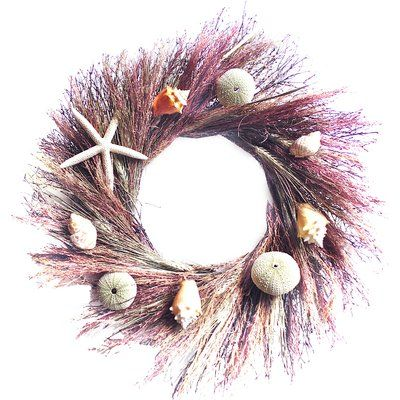 Add a coastal touch to your holiday decor with this preserved wreath, featuring starfish, seashells, and ornaments in a preserved eucalyptus base.