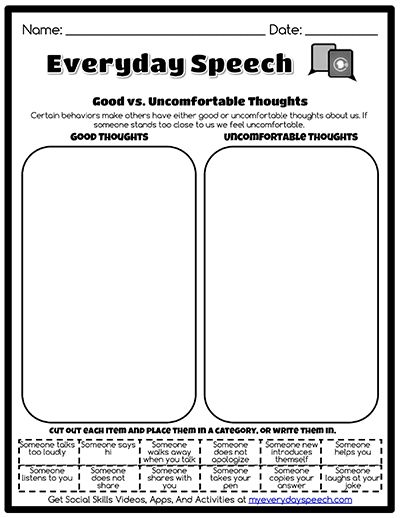 Check out the worksheet I just made using Everyday Speech's ...