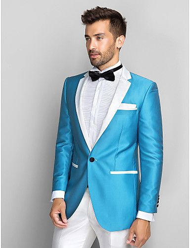 Click to Buy << 2016 Slim Fit Blue Blazer White Lapel Groom Tuxedos ...