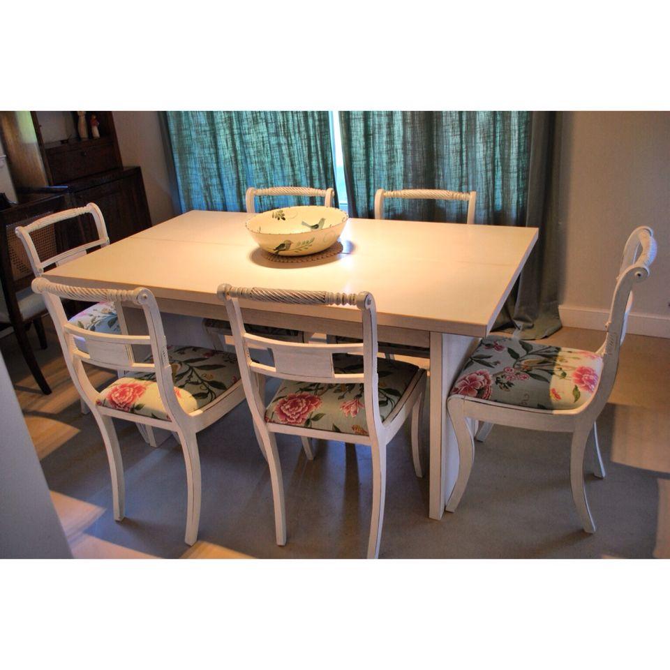 Mesa comedor madera maciza patinada + sillas de estilo restauradas + ...