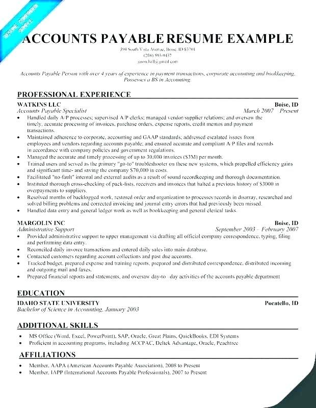 Accounts Payable Resume Example Clerk Peaceful