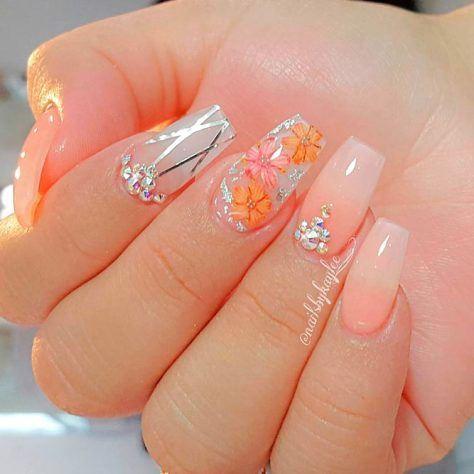 150 trendy acrylic nails designs 2018  flower nails