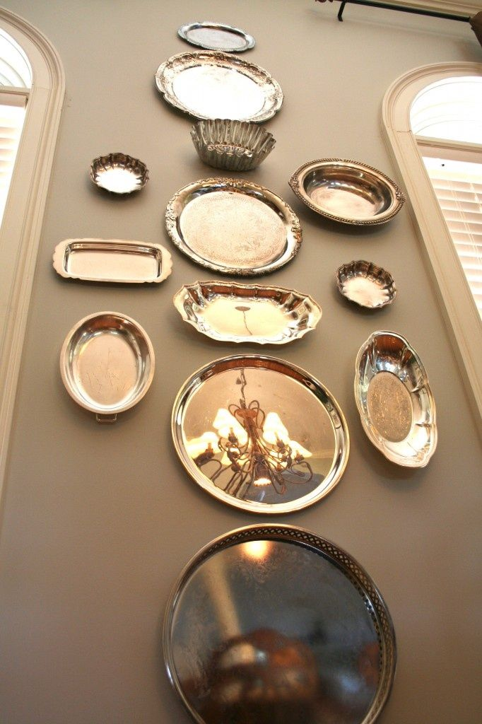How To Hang Silver Plate Trays On A Wall In 2019 Plates