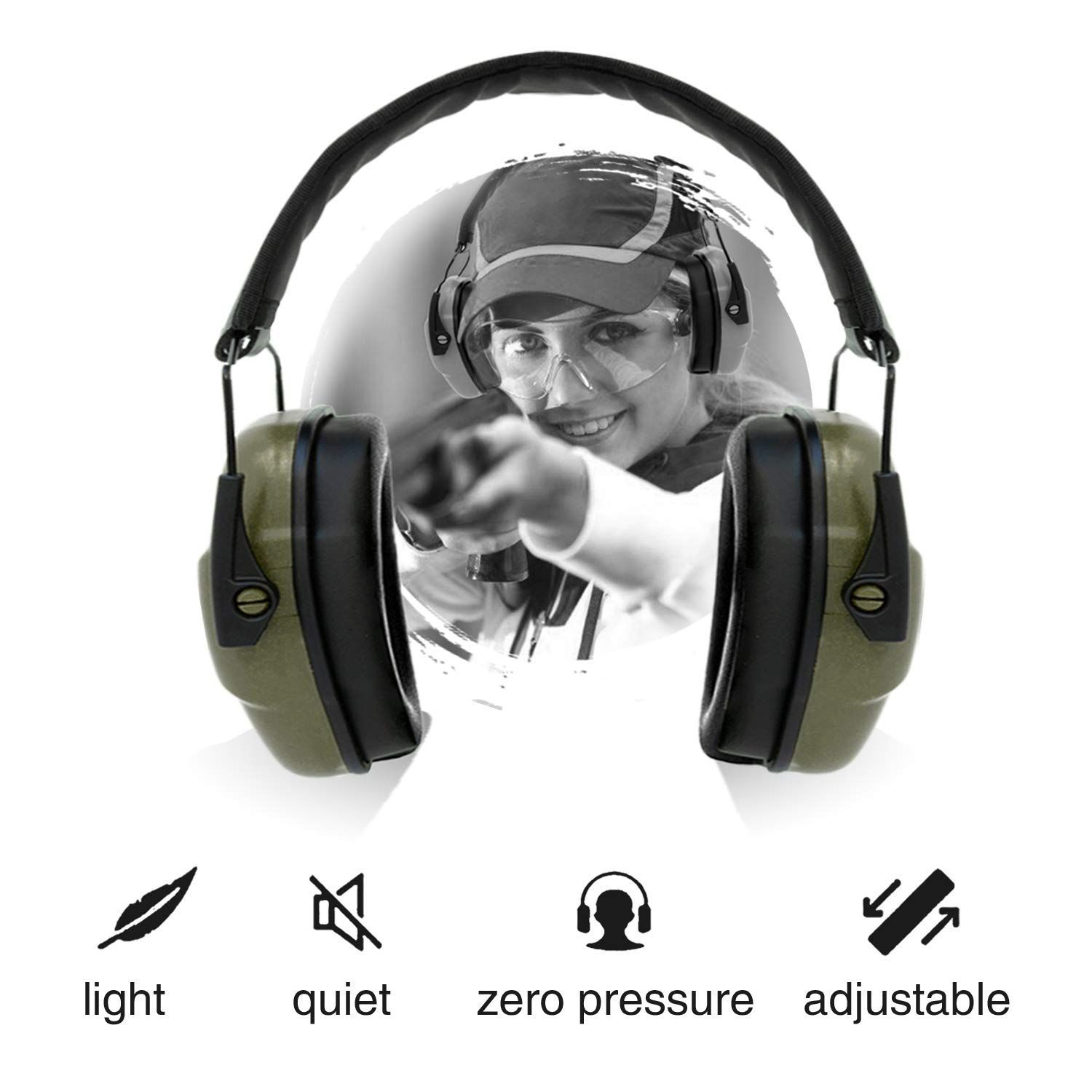 09a01aa7c1d ucho Shooting Ear Protection Safety Earmuffs - NRR 34dB Noise Reduction  Cancelling Headphones Adjustable Hearing Hunting