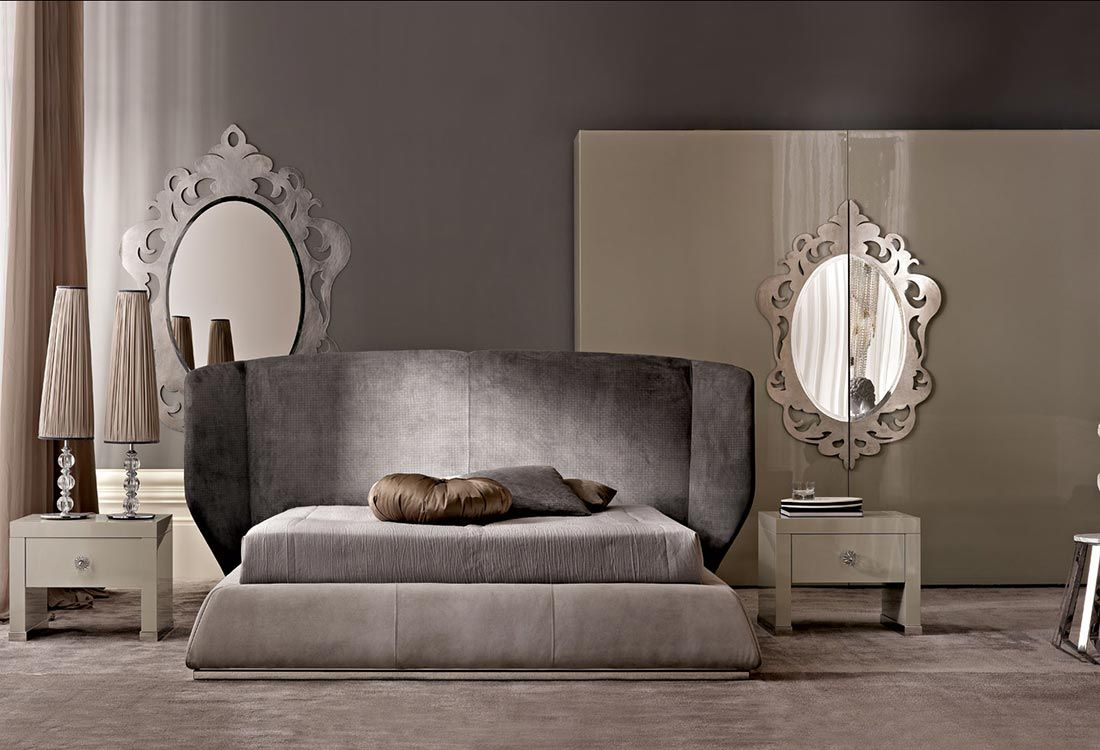 Double bed with upholstered headboard Martin Collection