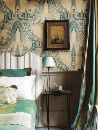 Cream and blue architectural toile wallpaper, French curtains ...