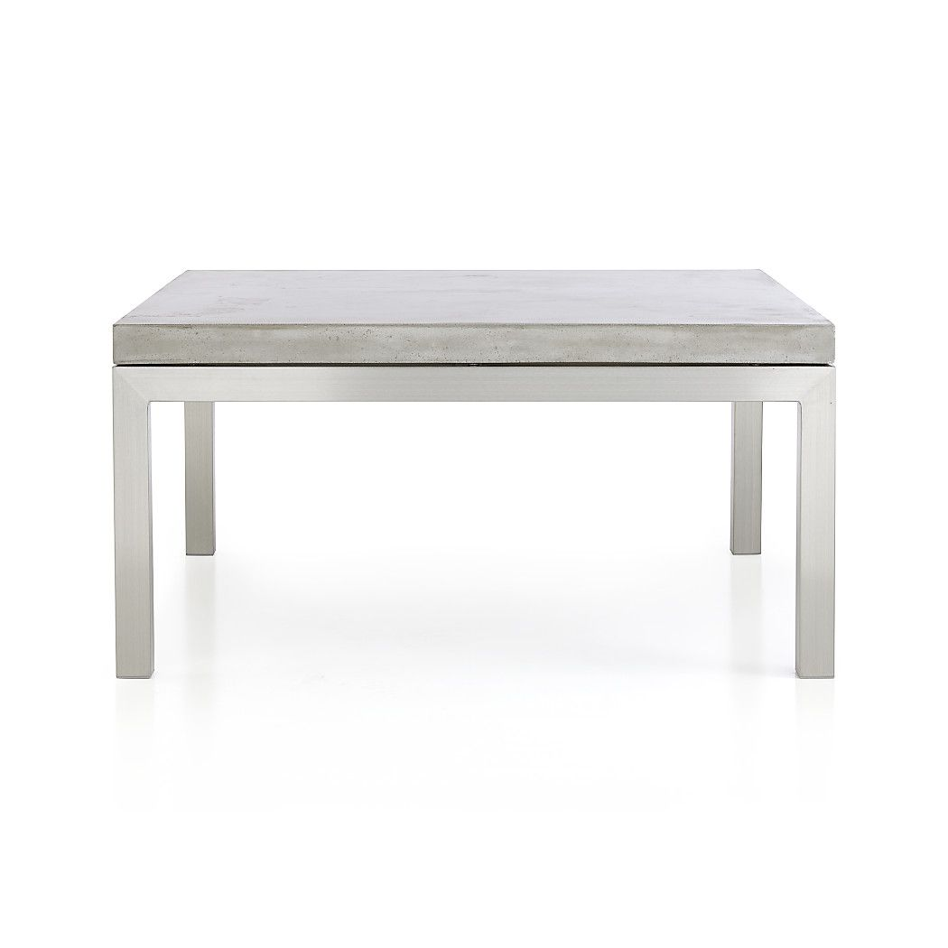 Shop Parsons Square Stainless Steel Coffee Table with Concrete Top.   The cool concrete is handcrafted in an eco-friendly shop powered without fossil fuels of marble, stone and granite powders with natural fibers for added strength.
