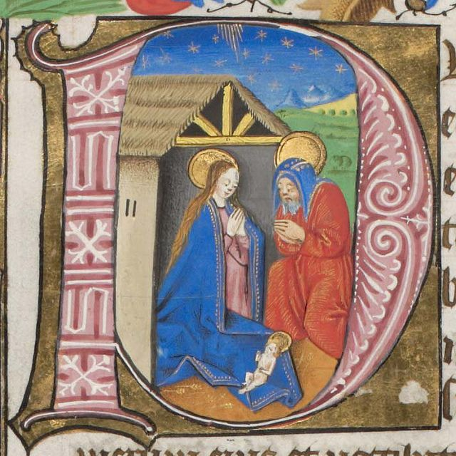 FCBTC / medieval manuscript of the day is a lovely illumination of the nativity squished into an initial D. I love how tiny and angular the infant Christ child is! Genève, Bibliothèque de Genève, Ms. lat. 30b, p. 13r – The Missal of Urbain Bonivard, Prior of Saint Victor in Geneva