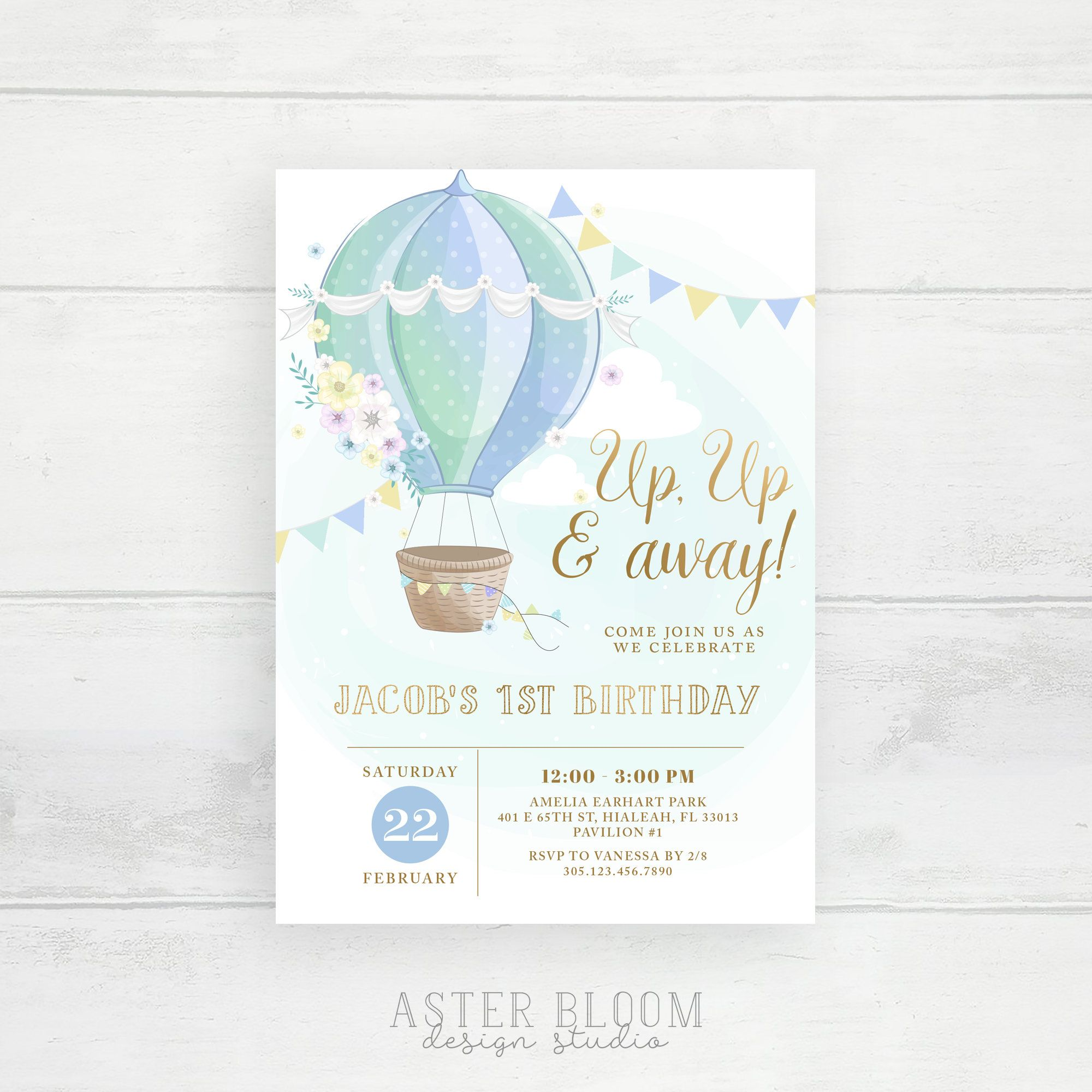 Blue Hot Air Balloon Invitation Up Up and Away First Birthday