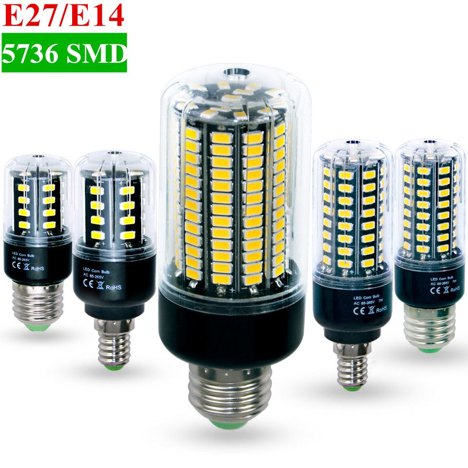 High Lumens No Flicker 5736 Smd E27 E14 3 5w 5w 7w 8w 12w 15w Led Corn Bulb Light 85v 265v Constant Current 28 156leds Lamp In Led Bulbs Tubes From Lights