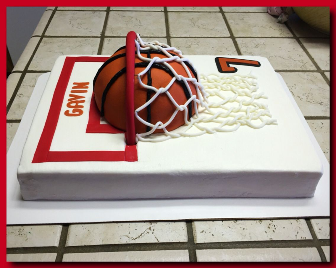 3d Basketball Goal Sheet Cake Basketball Cake Basketball