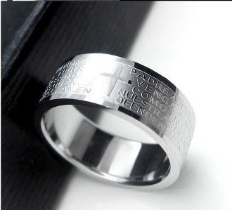 Titanium Steel Ring Necklace Lord Prayer Latin Cross Titanium Steel Rings Mens Stainless Steel Rings Rings For Men
