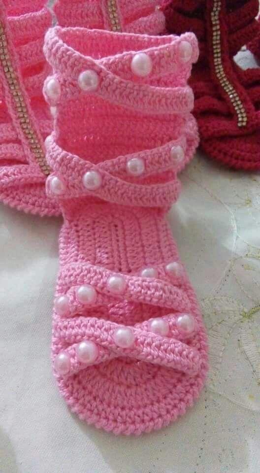Sandalinha Gladiadora de Crochê | crochet beautiful | Pinterest ...