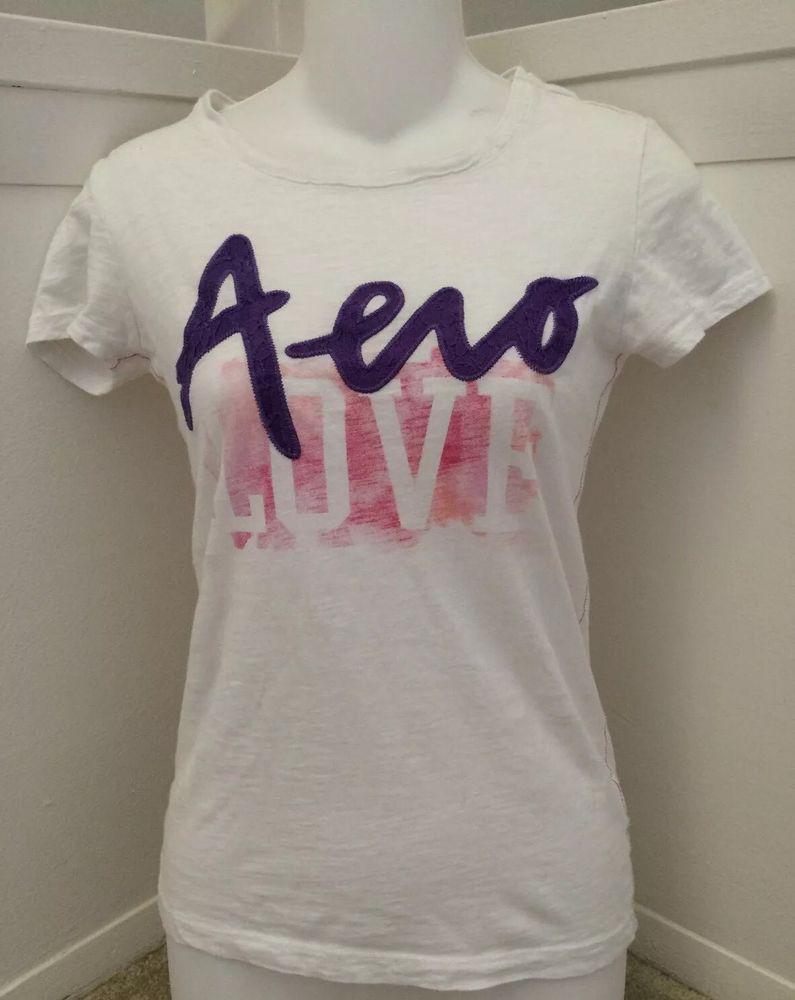 Aeropostale Juniors Women's s White Graphic T Shirt | eBay