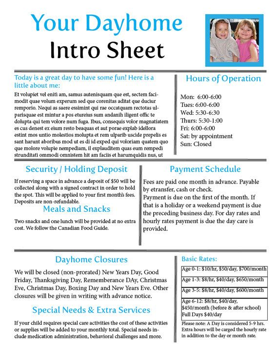 Daycare form dayhome form editable dayhome childcare intro your time is better spent playing with the children in your care than producing business forms this fantastic intro sheet displays all of your basic thecheapjerseys Choice Image