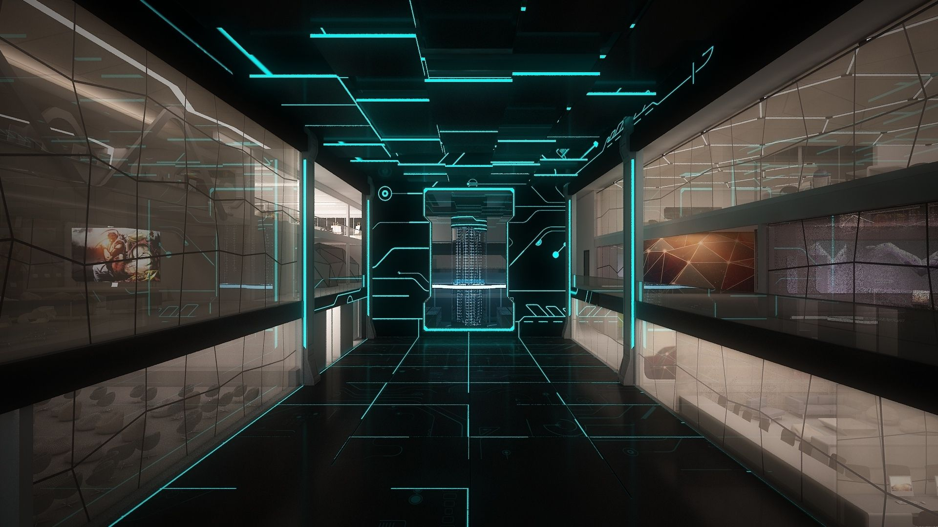 Space Monitors Line Staley Room Technology Sci Fi Science Computer Futuristic Wallpaper Background