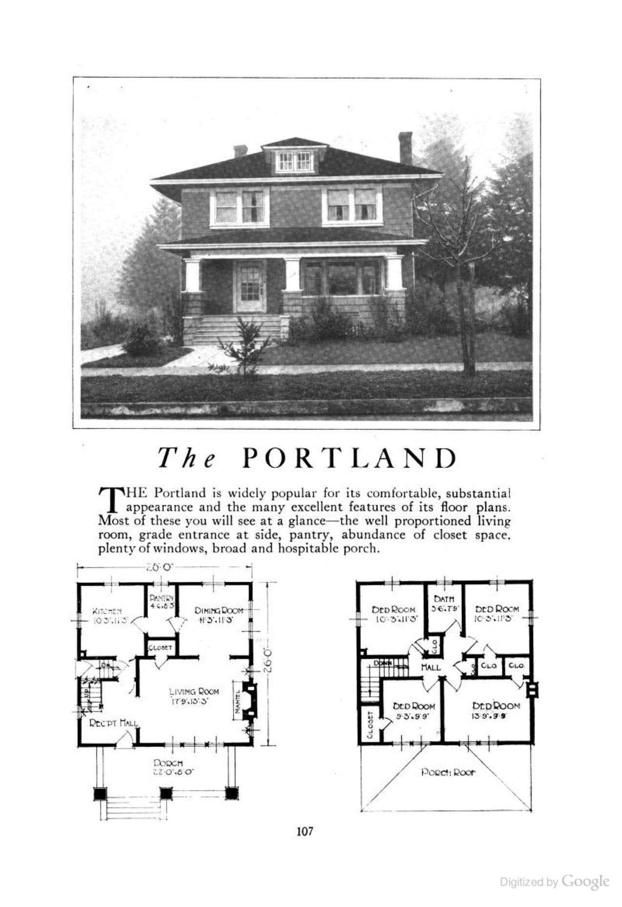 American Foursquare House Plans | The Portland An American Foursquare Kit House House Plan