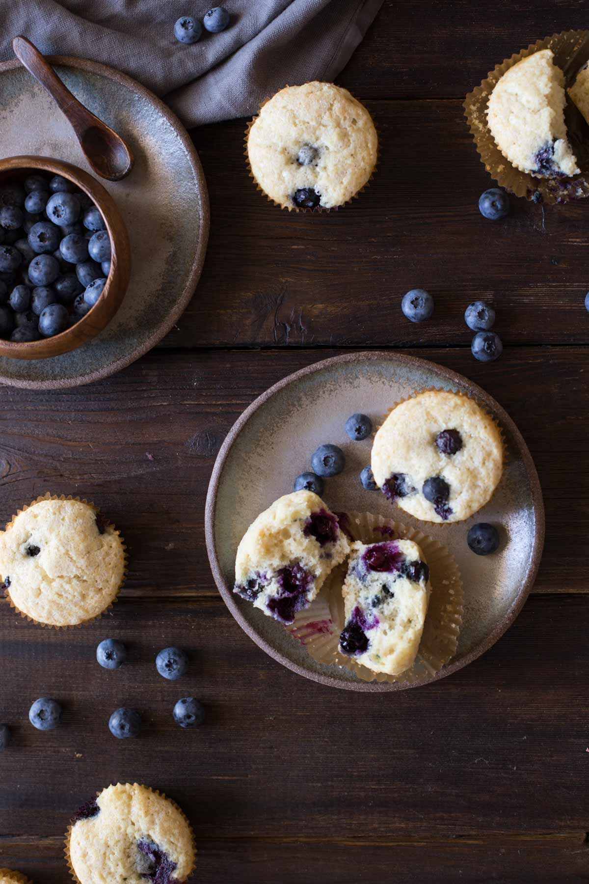 These sweet Vanilla Blueberry Buttermilk Muffins are so tender and creamy. You will LOVE them!