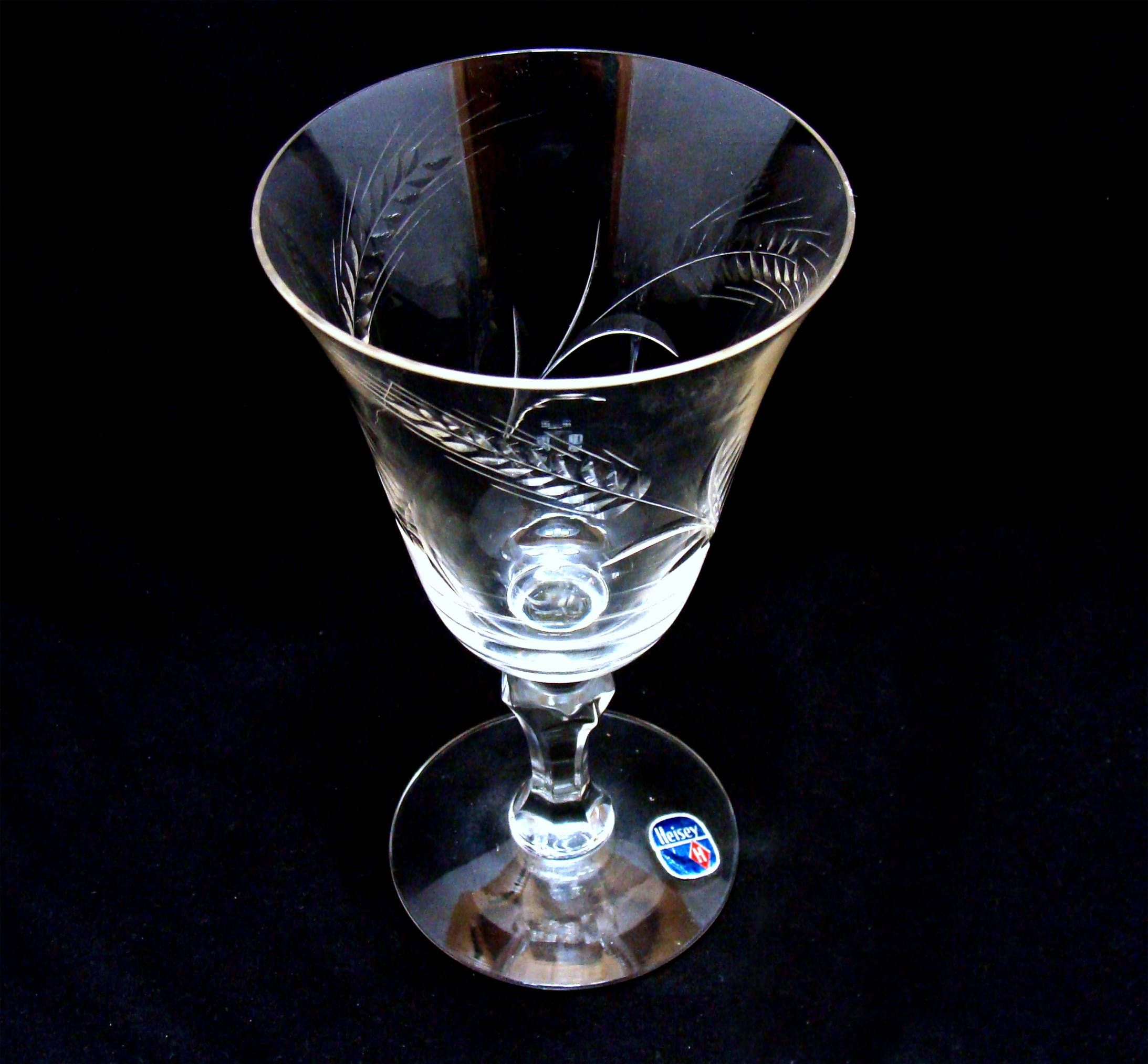 Vintage Wheat Etched Wine Glass Heisey Etched Wine Glass Vintage Wine Glasses Glass