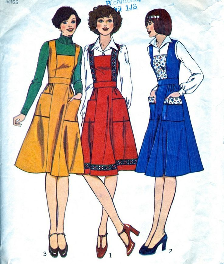 Misses\' Pinafore Dress Women - 1970\'s Dress Pattern - Vintage Sewing ...