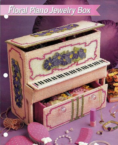 Floral Piano Jewelry Box Plastic Canvas patterns Pinterest