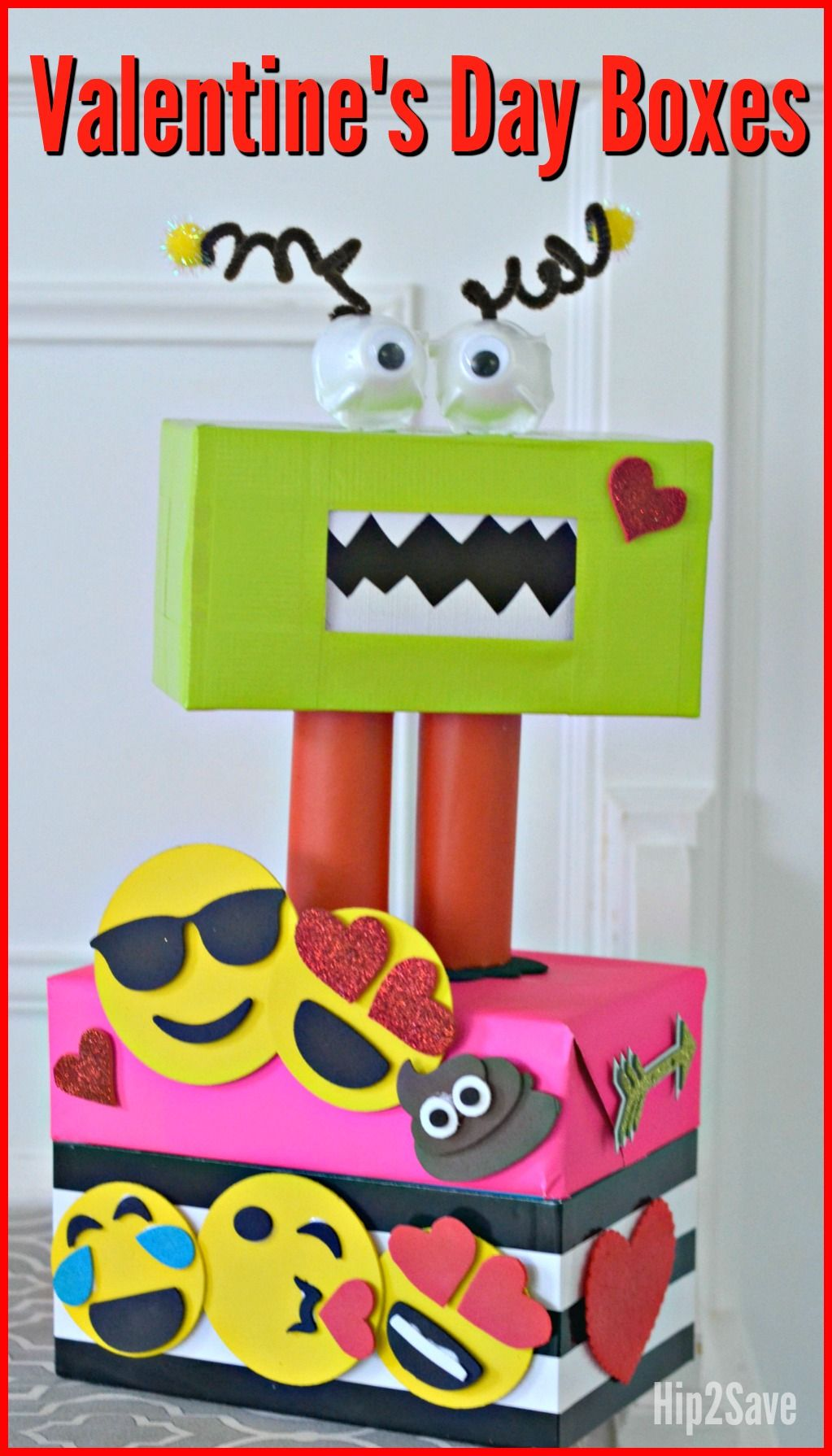 Creative Valentine S Day Box Ideas Monster And Emoji Themed Hip2save Valentine Day Boxes Kids Valentine Boxes Emoji Valentines