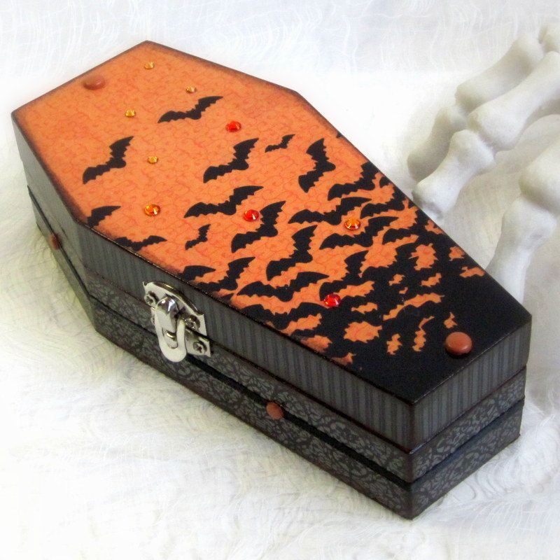 Halloween Box Decorations Coffin Box Decoupaged Halloween Coffin Box Goth Gothic Black