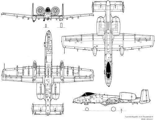 Fairchild Republic A-10 Thunderbolt II | 3 Views / Plans ... on