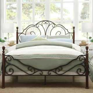 Very Pretty TRIBECCA HOME LeAnn Graceful Scroll Bronze Iron Queen Sized Bed