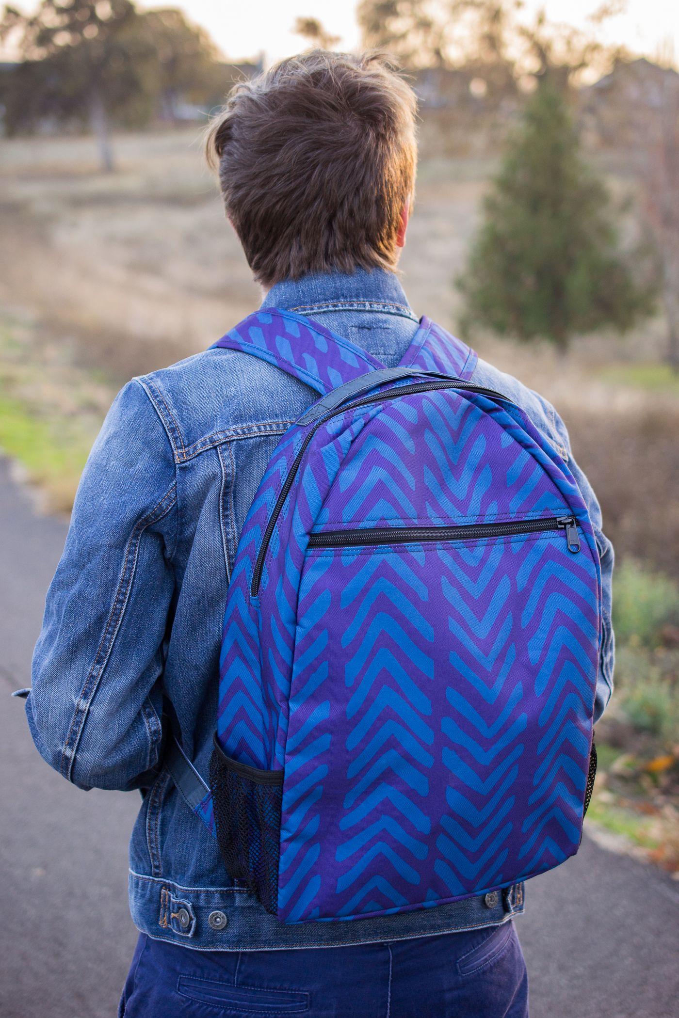 Blue Herringbone Jungle Backpack - fully customizable, on demand at mywearstore.com
