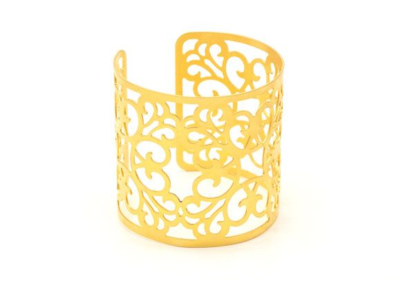 Wide cuff lace bracelet made of 24K gold plated wedding by batyas