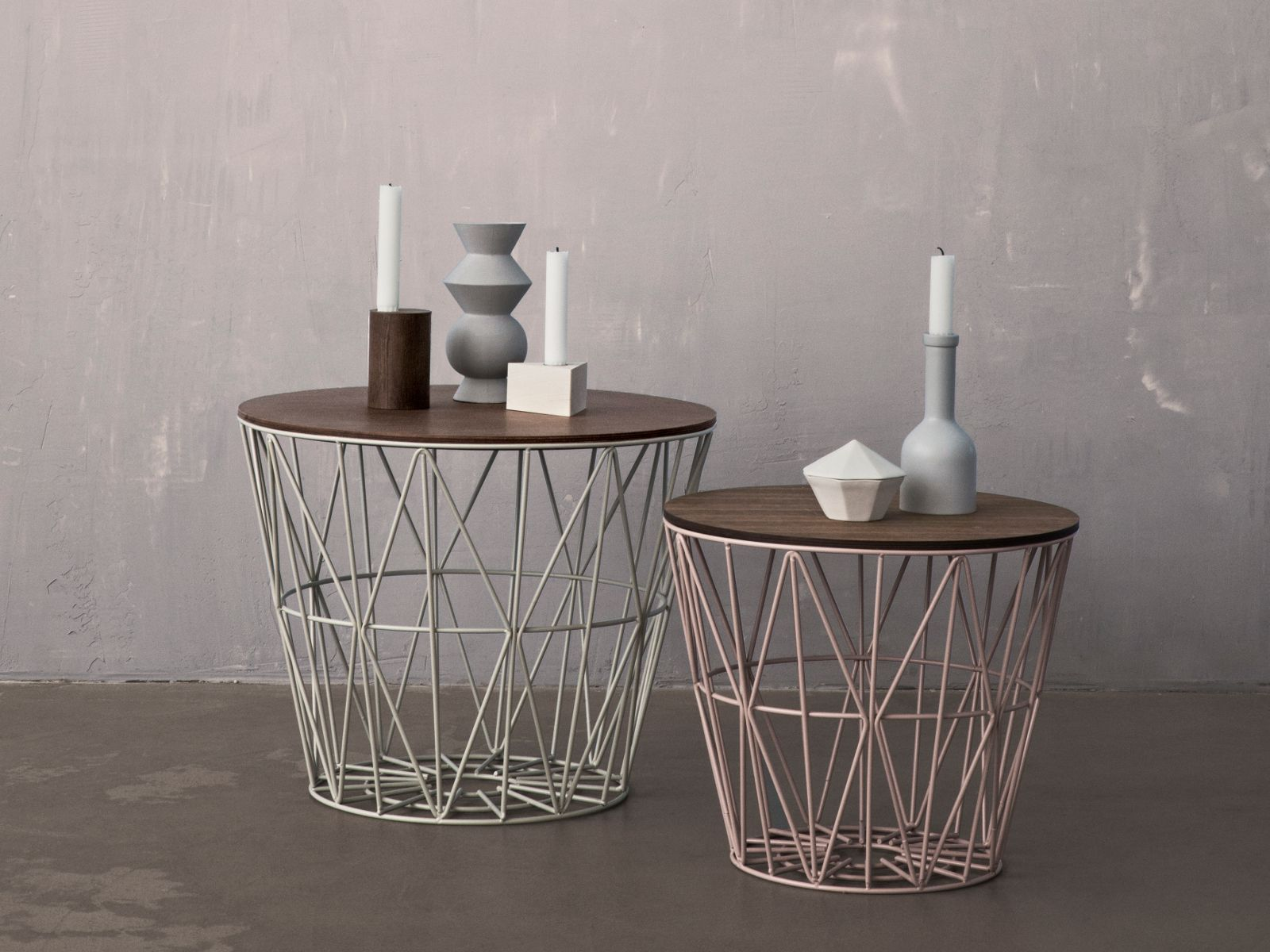 Low Round Iron Coffee Table Wire Basket By Ferm Living Ff E Iii