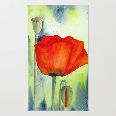 Poppy flower rug mightylinksfo