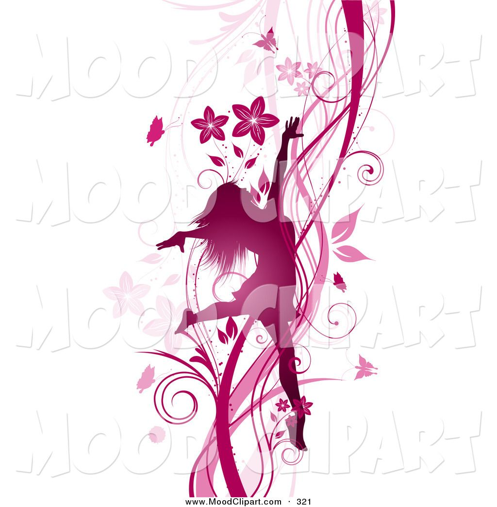 flowers clip art | Mood Clip Art of a Silhouetted Pink Dancing ...