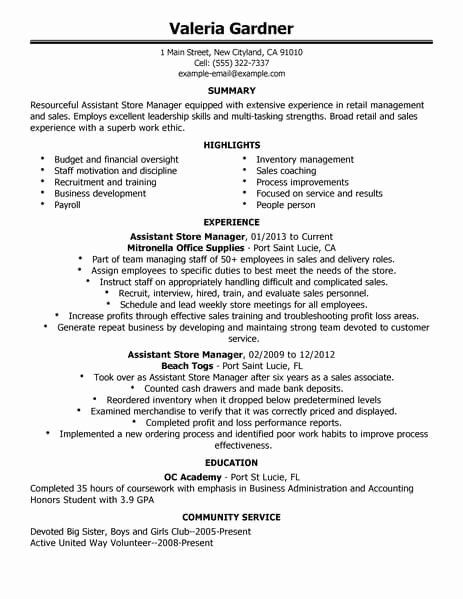 retail store manager resume lovely best retail assistant