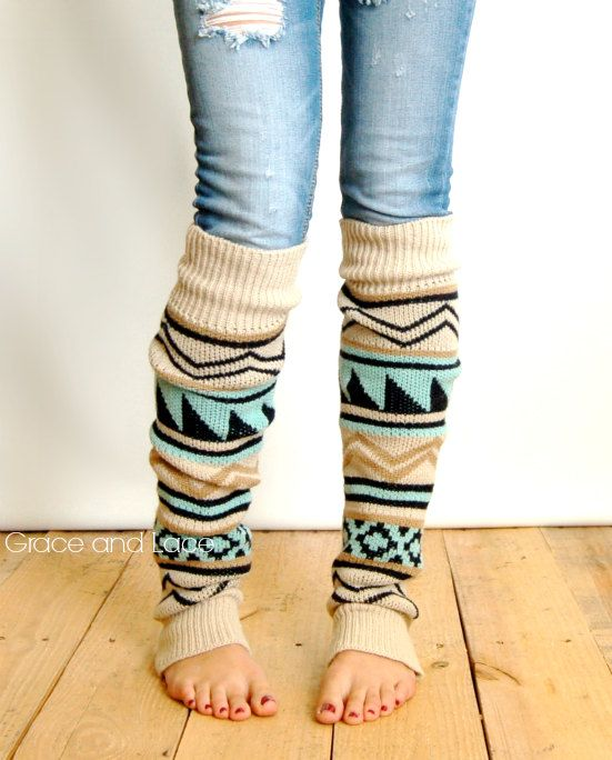 Aqua Blue Knitted Cable V Leg Warmers for Fall /& Winter