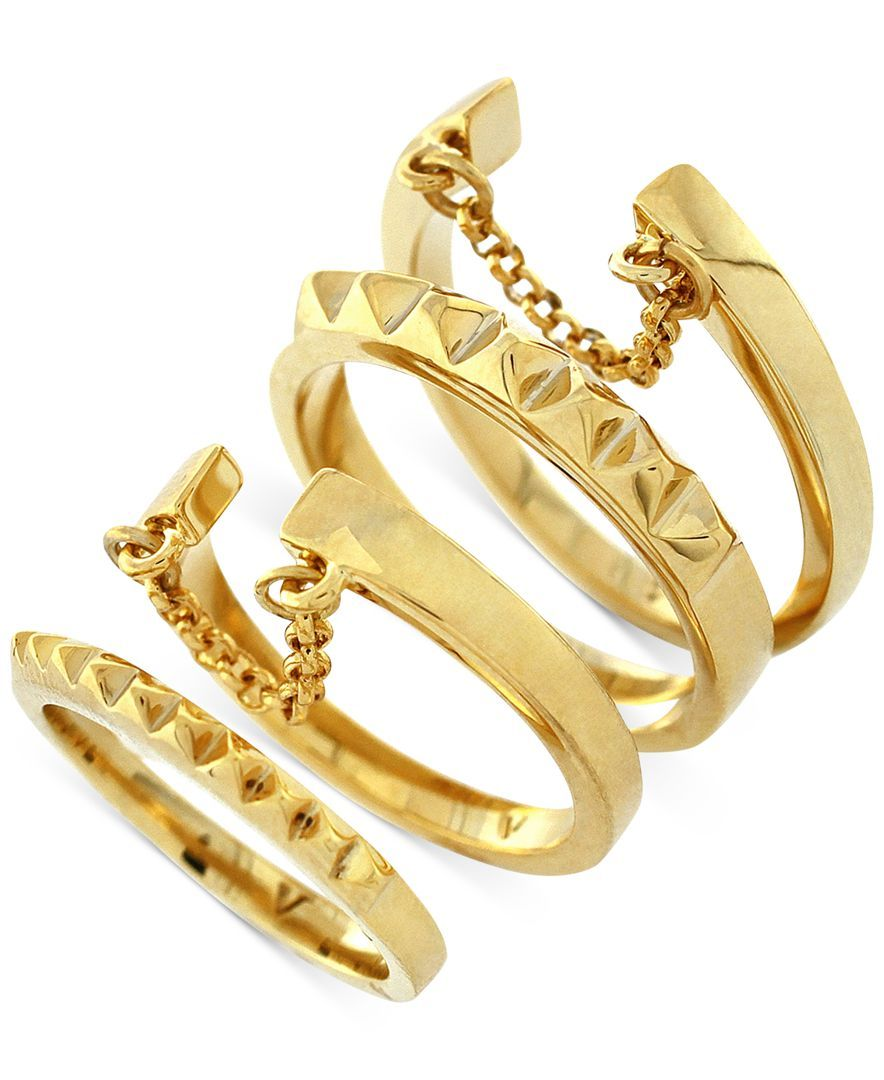 Vince camuto goldtone textured chain stack ring set products