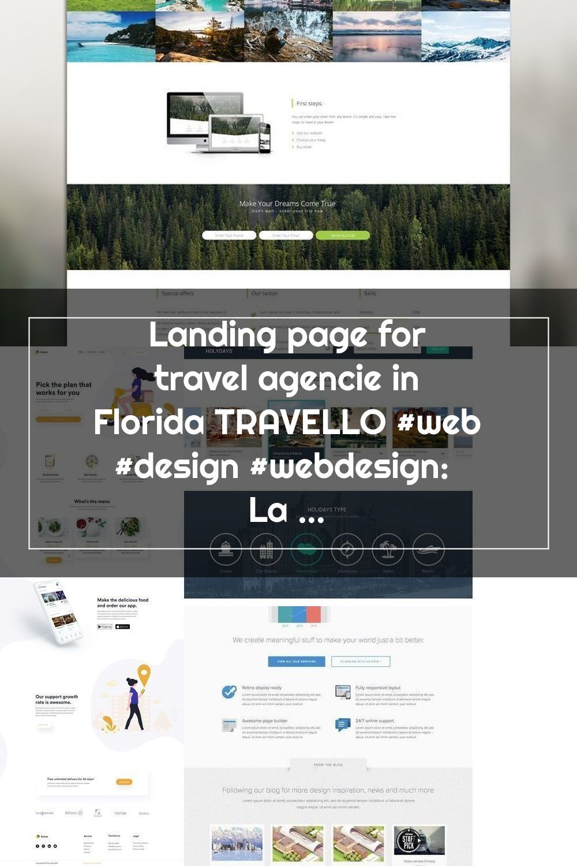 Landing Page For Travel Agencie In Florida Travello Web Design Webdesign Landing Page For Travel Agencie In Florida Trav In 2020 Flat Web Design Web Design Design