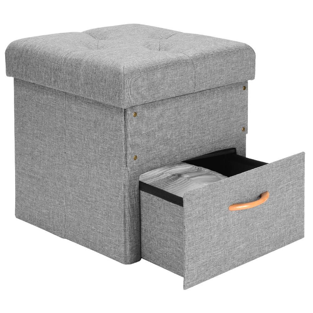 Folding Storage Ottoman with One Drawer Foot Rest Stool