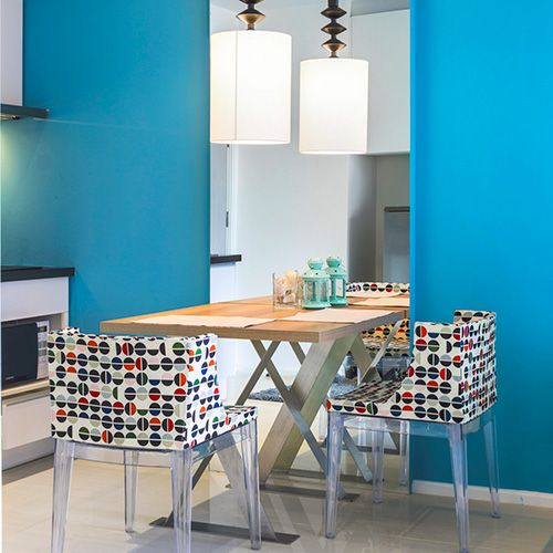 Monterrey Blue Tempaint Is A Peel And Stick Alternative For Bright Blue Paint Or Solid Colored Bright Blue Wall In 2020 Interior Design Interior Interior Kitchen Small