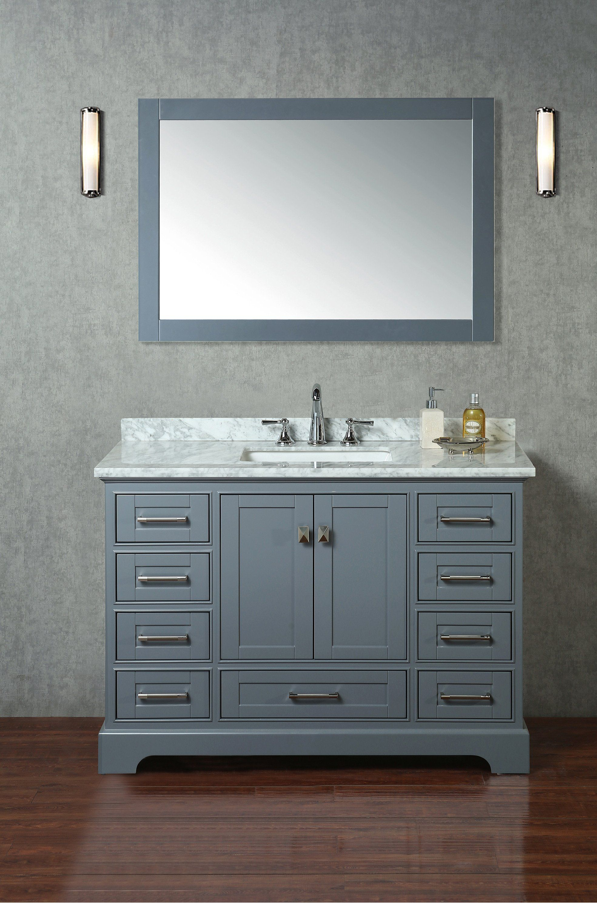 Stufurhome Newport Grey 48 Inch Single Sink Bathroom Vanity With Mirror In 2021 Single Sink Bathroom Vanity Bathroom Vanity Marble Vanity Tops